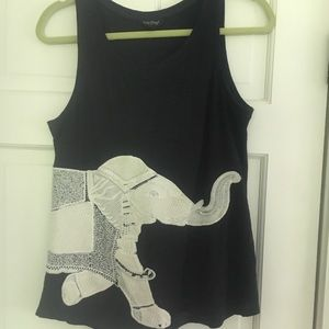 Elephant embroidered tank